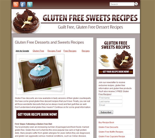 Gluten free sweets recipes website